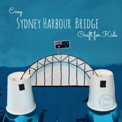 Easy Sydney Harbour Bridge craft for kids made from paper plates and cups. Great idea for learning about Australia and famous Australian icons. ~ Danya Banya