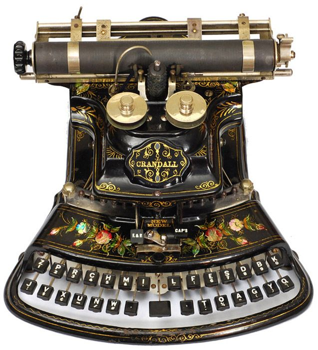 Crandall (Crandall Machine Company). Кротон, Нью-Йорк, 1886. Одна из самых красивых пишущих машинок на свете, к тому же обогнавшая свое время: 84 символа на ней можно было напечатать, используя всего 28 клавиш.