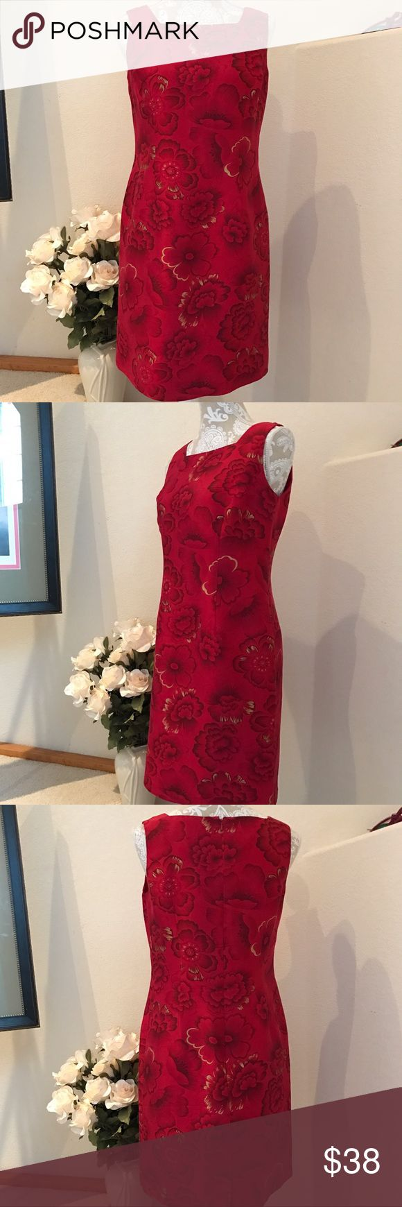 Beautiful Garnet Silk Dress so P 8 Oriental designed, gorgeous silk dress, like new. Fully lined. Size P8 by Cold water Creek Coldwater Creek Dresses Midi