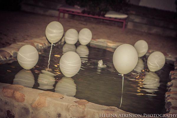 Romantic balloons on the fountain - Helena Atkinson Photography