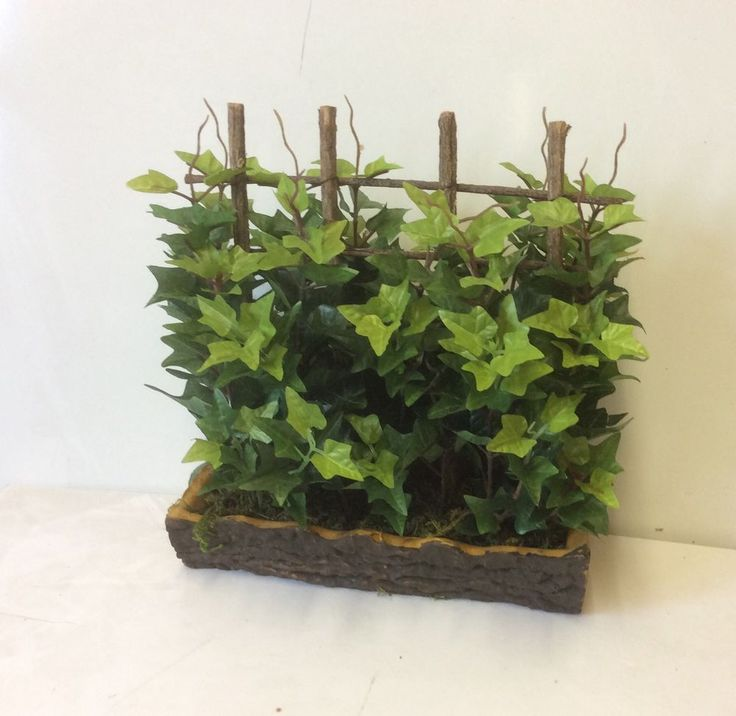 New Silk Green Ivy & Trellis In Log Bowl Artificial Silk Flowers Planter 12 inch