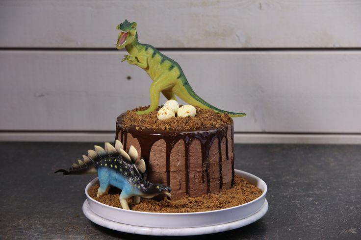 Planerar du för kalas? Då kanske dinosaurietårta kan gå hem, det blir en favorit både för barn och vuxna. Och du, ät inte dinosaurierna bara.
