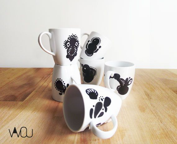 Mug Set 3 by VAVOUhandythings on Etsy
