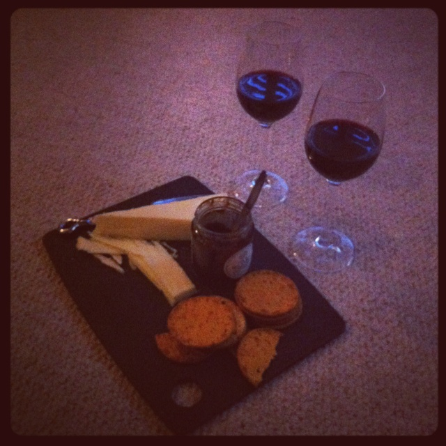 One of my favourite places.....in front of a cheese board with wine!