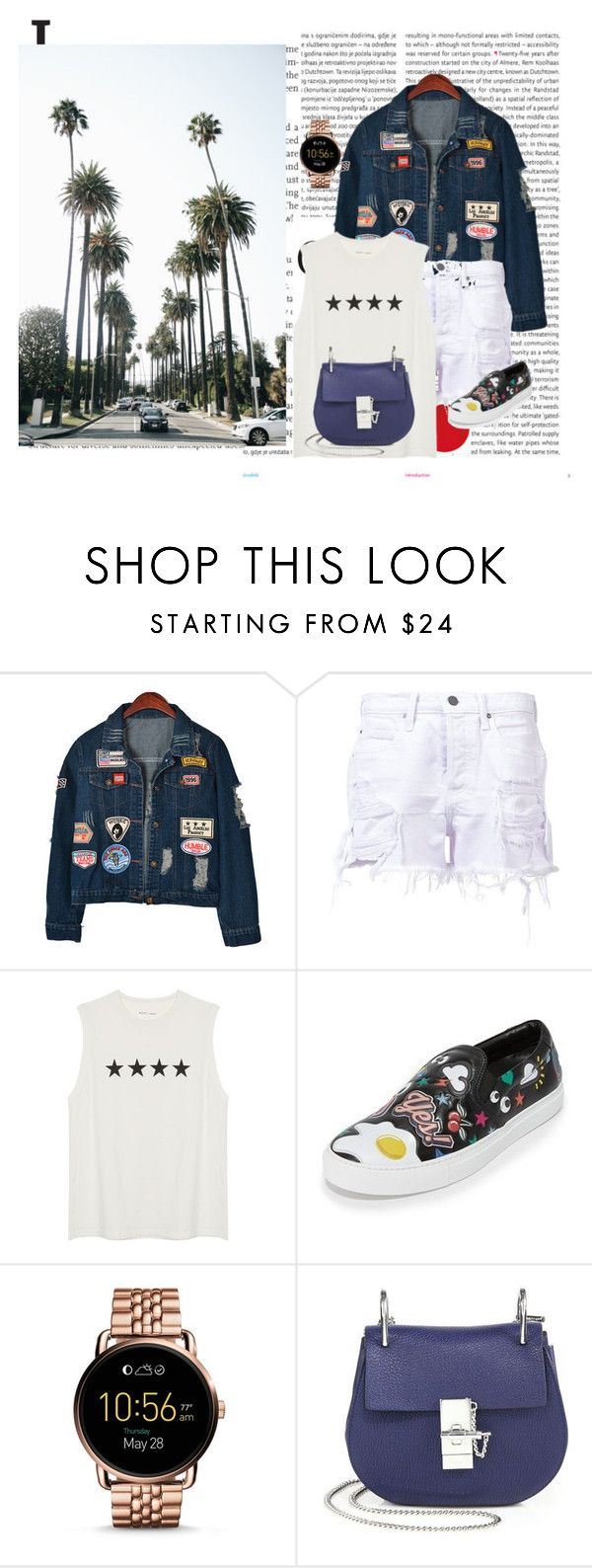 """""""California girl"""" by audrey-balt on Polyvore featuring Oris, Chicnova Fashion, T By Alexander Wang, Anya Hindmarch, FOSSIL and Chloé"""