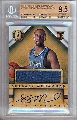 Shabazz Muhammad 2013-14 Gold Standard RC Jersey/Auto Graded BGS 9.5 #235