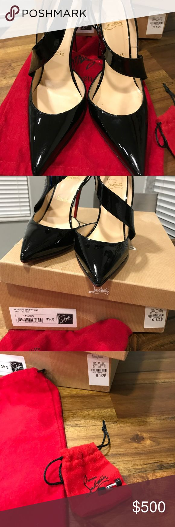 Christian Louboutin Ograde Black Patent Leather Beautiful! 100% authentic! Looks amazing on! Worn maybe twice!   Gorgeous in like perfect condition! Gorgeous 100% authentic shoes, comes in box and with one dust bag and heel caps! Very very beautiful and almost perfect condition. One small knick on the heel of one of the shoes, see pics. COMPLIMENTARY $80 sole protector!! Christian Louboutin Shoes Heels