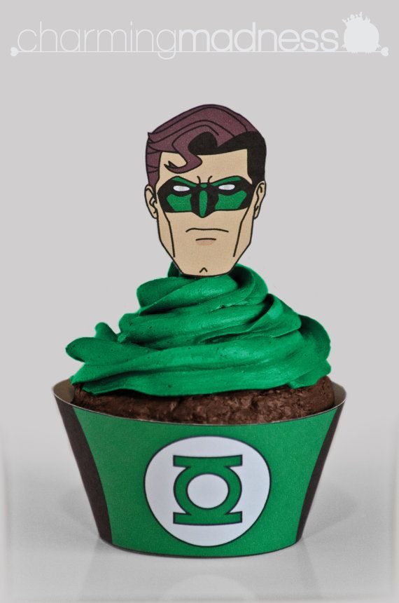 Green Lantern Cupcake Wrappers  Toppers by CharmingMadness
