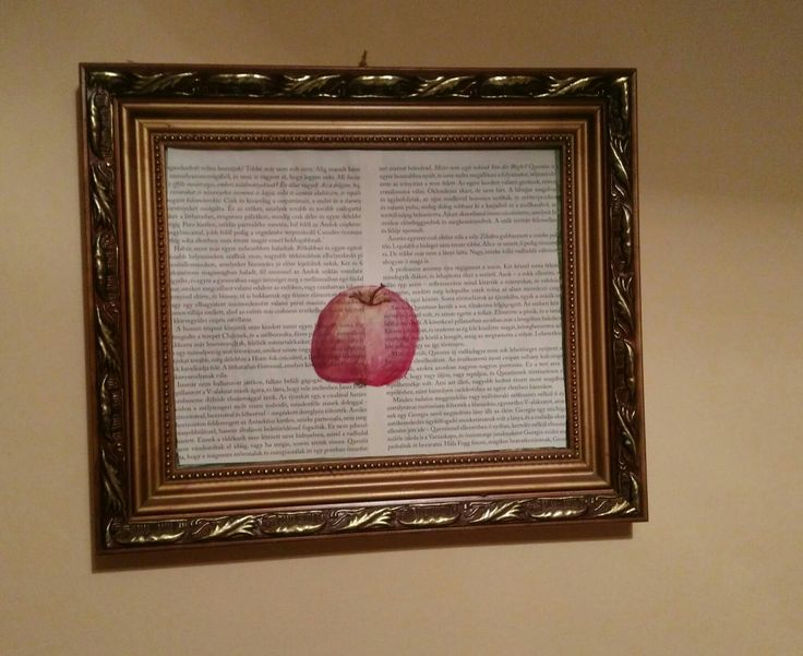 Apple painting. Book page art. Kitchen decoration.