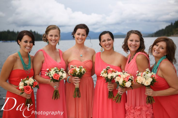 Different coral dress for each bridesmaid and different for Jewelry to wear with coral dress