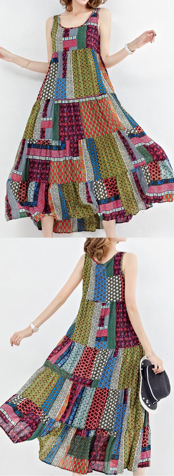 US$ 25.20 Gracila Bohemian Patchwork Sleeveless O-Neck Long Maxi Dresses