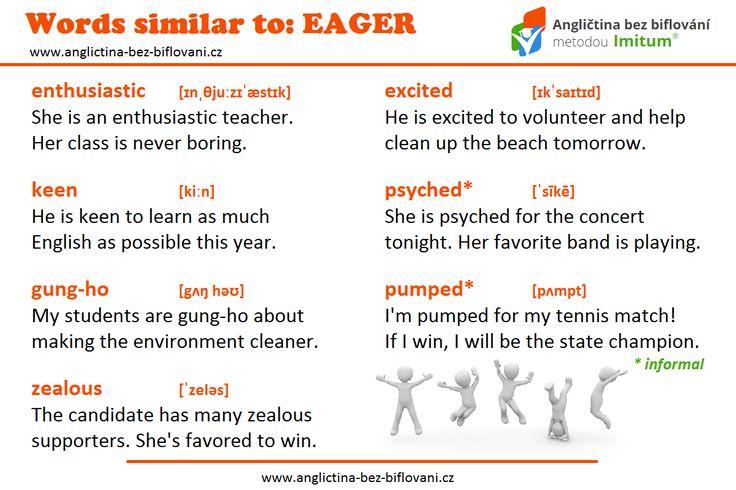 Je něco, na co jste v tomto týdnu natěšeni? Naučte se další synonyma k anglickému slovu EAGER.  #synonyms #eager
