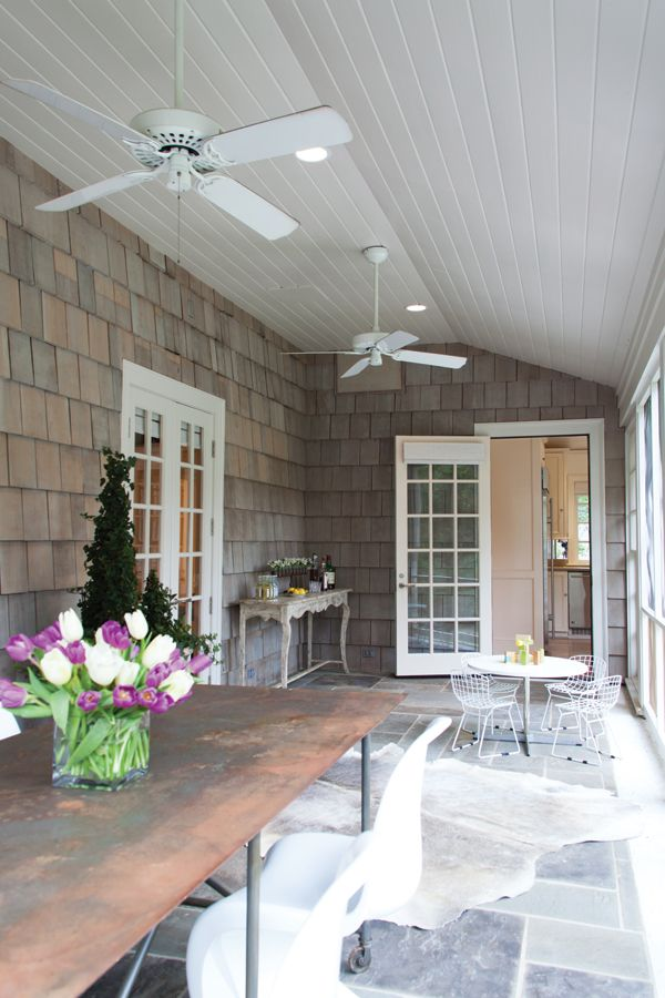 Screened back porch with repurposed furniture. #home #outdoor