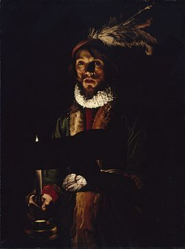 A MAN SINGING BY CANDLELIGHT. oil on canvas.