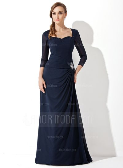 Mother of the Bride Dresses - $152.99 - A-Line/Princess Sweetheart Sweep Train Chiffon Mother of the Bride Dress With Ruffle Beading (008005650) http://amormoda.com/A-line-Princess-Sweetheart-Sweep-Train-Chiffon-Mother-Of-The-Bride-Dress-With-Ruffle-Beading-008005650-g5650