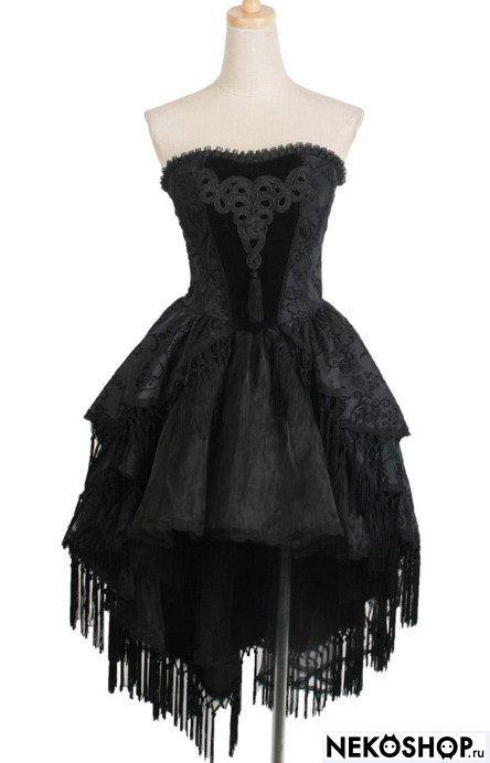 Готическое платье с длинным шлейфом  NIGHT QUEEN