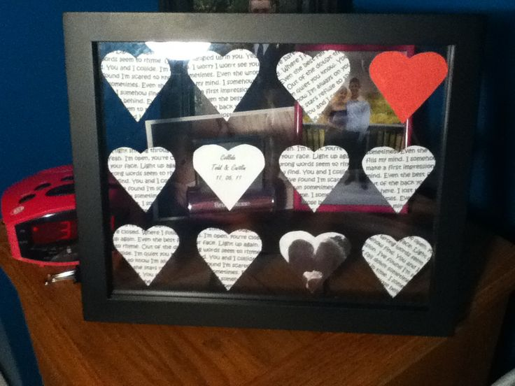 Saw this idea on pinterest and decided to try it! DIY frame with our song lyrics, name and date, and picture of the two of us! One of my one year gifts to my boyfriend!