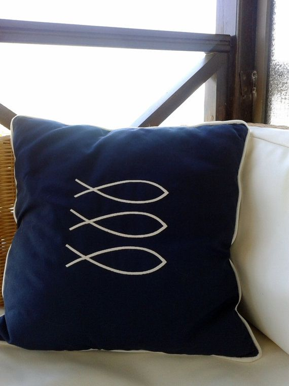 GREEK FISH summer pillow indooroutdoor by letsdecorateonline, $32.40