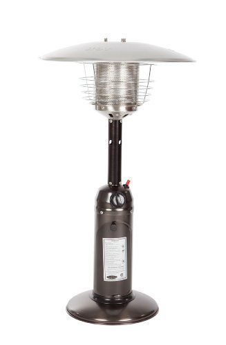 Fire Sense  Propane Table Top Patio Heater, Old World Bronze by Fire Sense. $149.99. Piezo electronic ignition for easy starts every time, years to come. Stainless steel burners and heating grid for optimal durability. Measures 13 by 21 by 35 inches; weighs 14.3 pounds for optimal stability. Reflector hood directs and enhances heat output; grill guard for safety. Puts out 10,000 BTU's for plenty of warmth at the picnic table. Perfect for outdoor entertaining, our Old ...