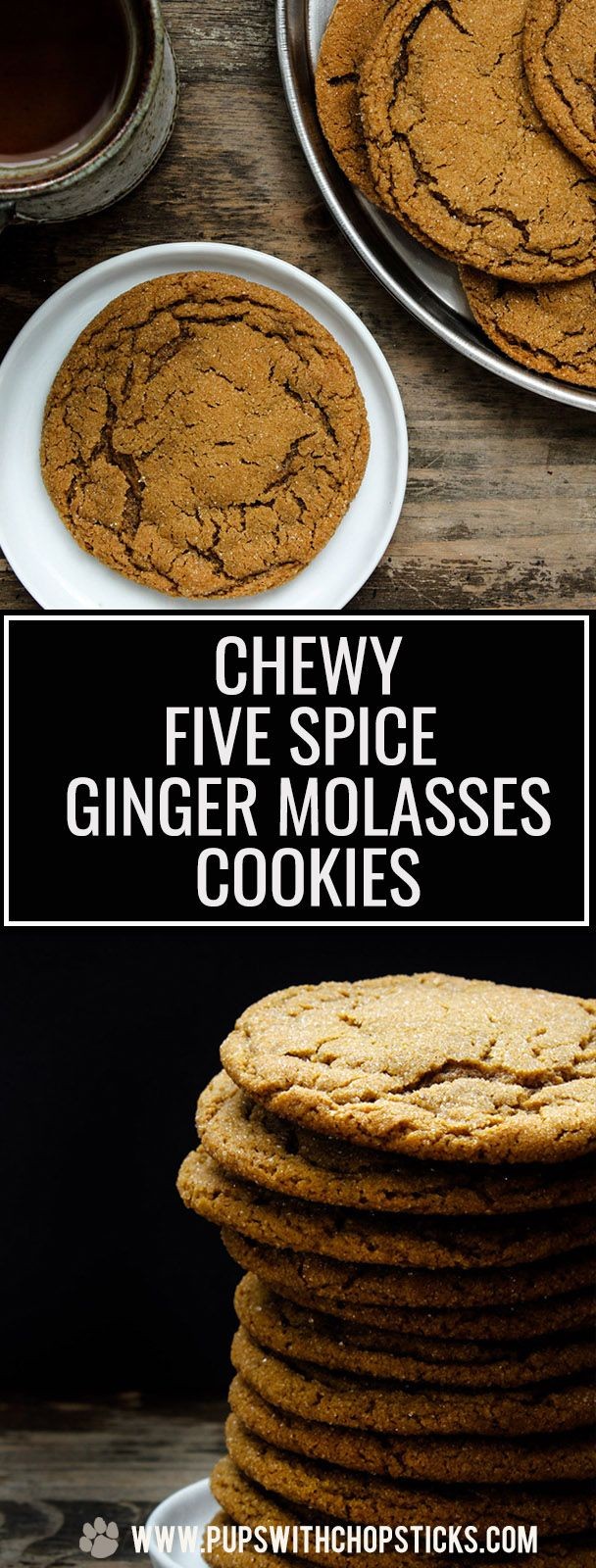 Chewy Five Spice Ginger Molasses Cookies