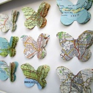 DIY Map Butterflies   I don't think my husband wants me to cut up his maps, but this is a good idea for off the wall maps you find at a yard sale, at Goodwill, etc