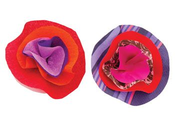 Paper Flower Badges. Use assorted patterned paper to arrange beautiful flowers for mum to wear as a brooch.