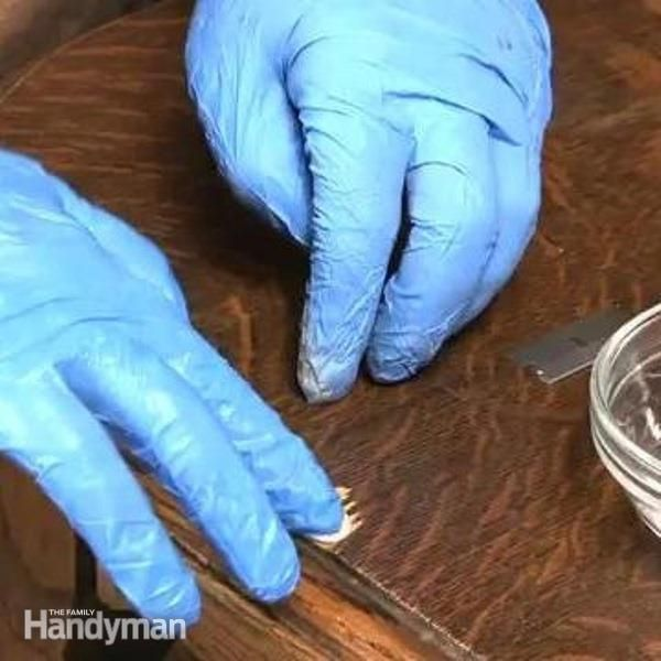 Fixing a chipped piece of veneer isn't as hard as you think. The Family Handyman expert Kevin Southwick, will show you how to make a perfect patch using Quickwood to repair damaged veneer.