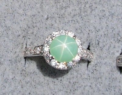 VINTAGE LINDE LINDY VERY RARE MINT GREEN STAR SAPPHIRE CREATED RP .925 S/S RING