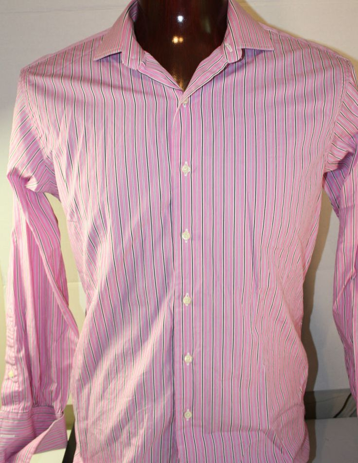Brooks Brothers Button Front Mens Dress Shirt 16.5 X 34 Slim Fit French Cuff