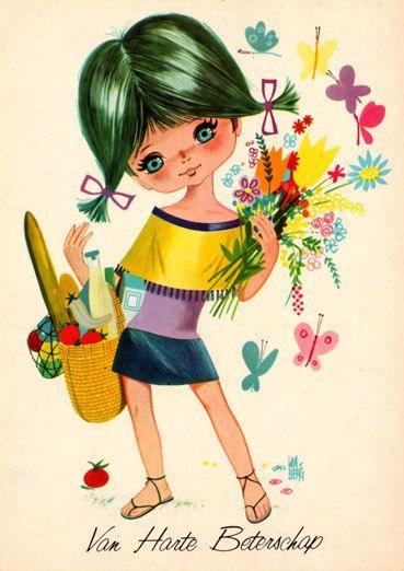 1970's farmer's market girl. I could eat this card up.: Vintage Postcards, Big Eyes, 1970S Cards, Vintage Doll