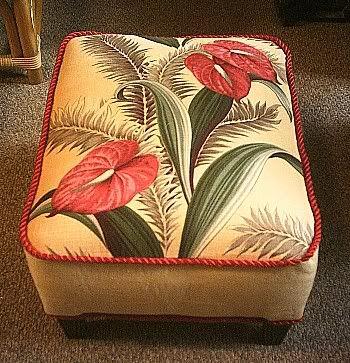 Great Vintage Barkcloth Footstool