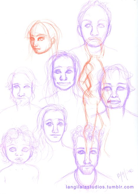 I was in a rut for weeks, just about the worst place to be as an illustrator, so I took to face sketches (via @humanae) to banish said rut away. By the way, I do not profess to be any good at capturing likeness. The top set was done yesterday, and the bottom set was done today. The parts in red in the top one? Evidence of the rut. It was MUCH worse last week. I drew like I was back in high school. LOWER high school.;_; Guess which order I drew them in? ♥
