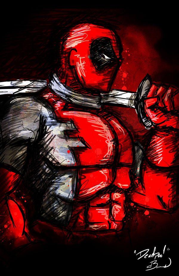 Marvel heroes art by Dalys Burnes - Deadpool