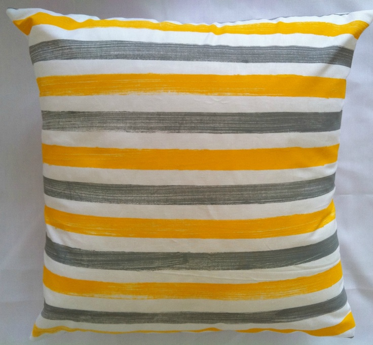 Yellow and grey striped cushion | Felt
