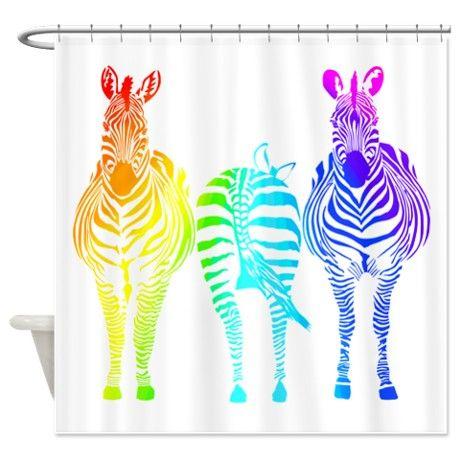 Rainbow Zebras Shower Curtain on CafePress.com