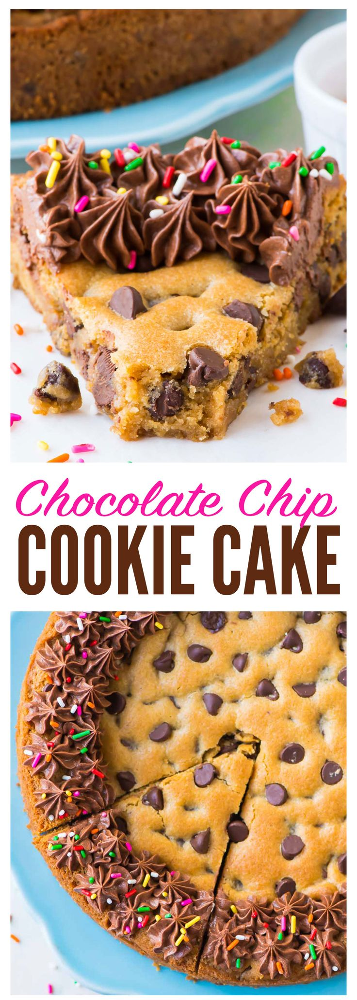 Ultra soft, ultra chewy Chocolate Chip Cookie Cake from scratch! The BEST recipe. EASY and the rich chocolate fudge frosting tastes incredible. Decorate for a special homemade birthday dessert or just enjoy a giant slice.