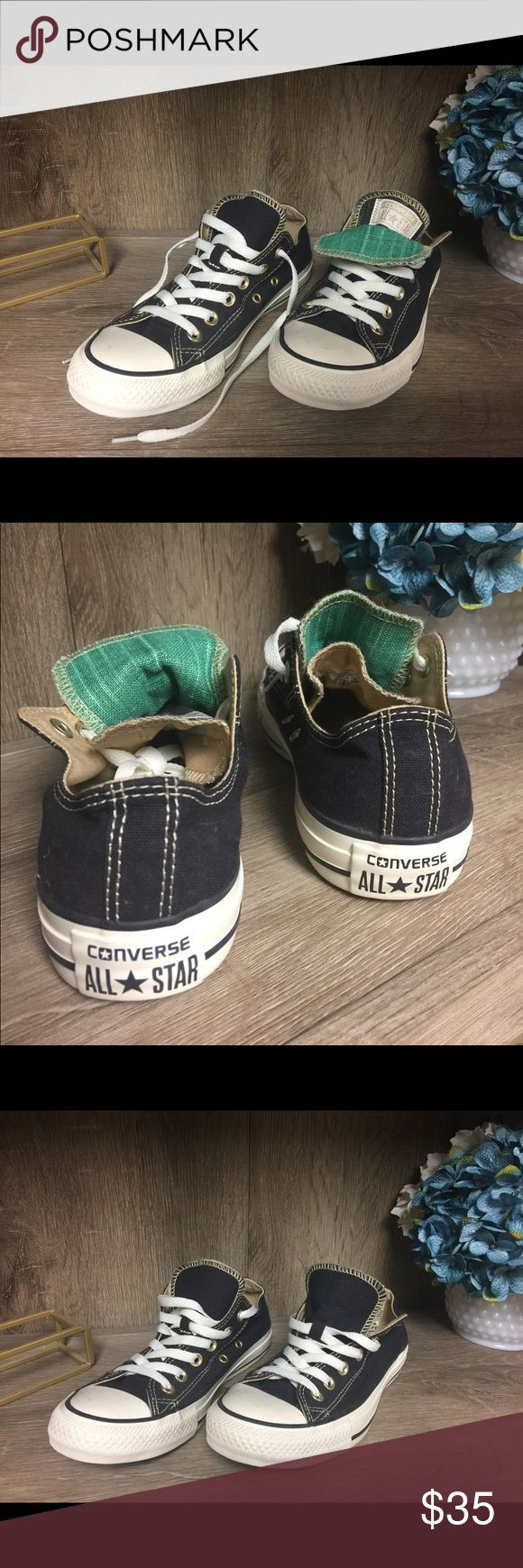 Converse Double Tongue Sneaker Converse Double Tongue black and green sneaker.  Worn only a couple of times, in great condition! Converse Shoes Sneakers