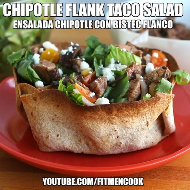 Who's up for #tacotuesday for #dinner tonight? Here's a new way to spice it up with my chipotle flank steak taco salad! It's delicious, nutritious and easy! Recipe link in bio or go to FitMenCook.com. Boom. #beefcheckoff (traducción abajo) ----- Estás pensando en tacos para la cena esta noche? Entonces, debes probar mi ensalada chipotle con bistec flanco! Rico, nutritivo y sencillo! Enlace para la receta en perfil or echa vistazo a FitMenCook.com. No te olvides ACTIVAR SUBTITULOS en el…