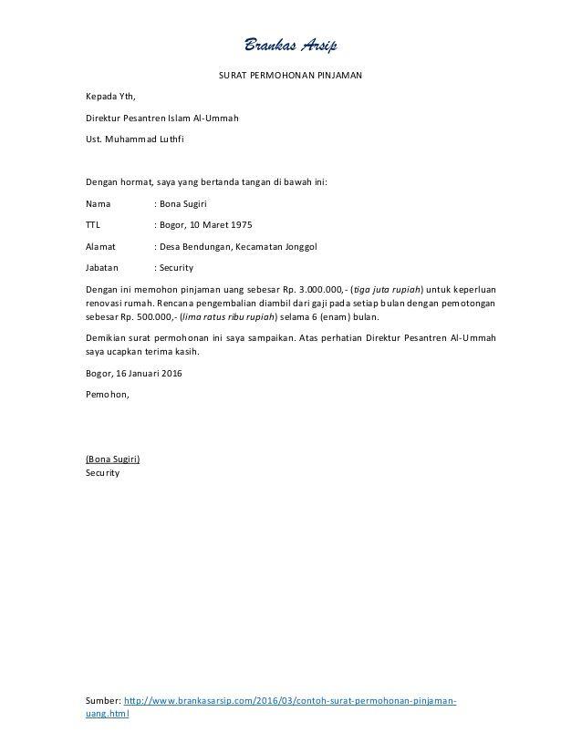 Brankas Arsipsumber Http Www Brankasarsip Com 2016 03 Contoh Surat Permohonan Pinjaman Uang Htmlsurat Permohonan Pin Personalized Items Person