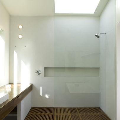 """Ikea vanity wrapped with teak plywood"" - ensuite idea?"