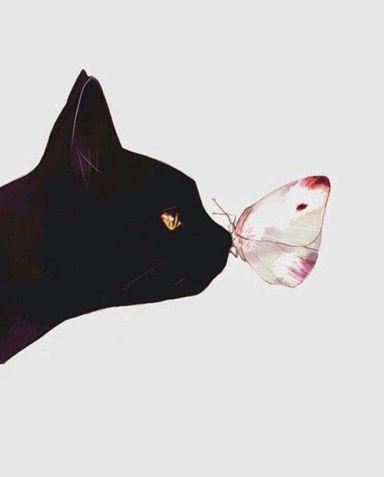 Черная кошка и бабочка