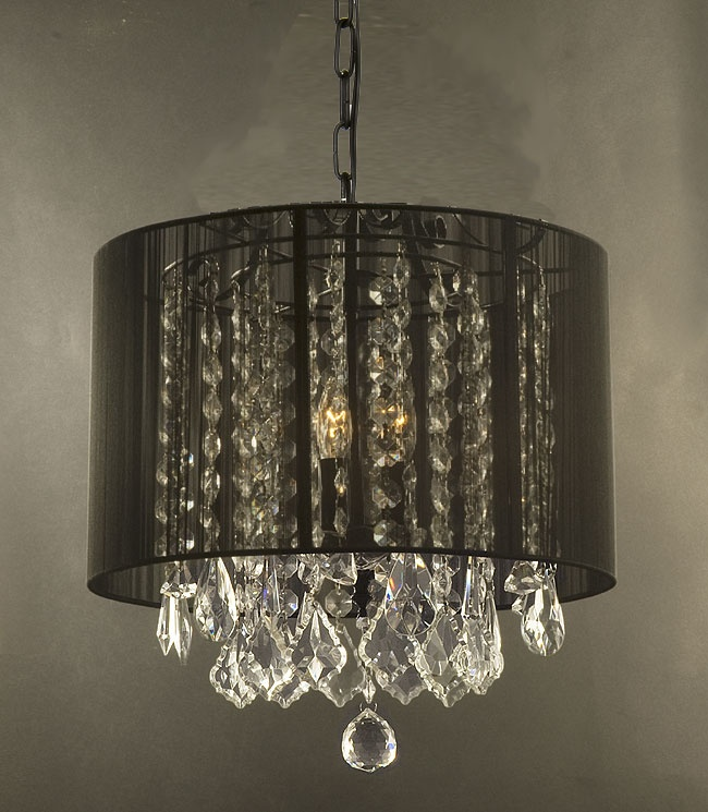 F9-BLACK/SM/604/3  Gallery Chandeliers with Shades CRYSTAL CHANDELIER WITH SHADE