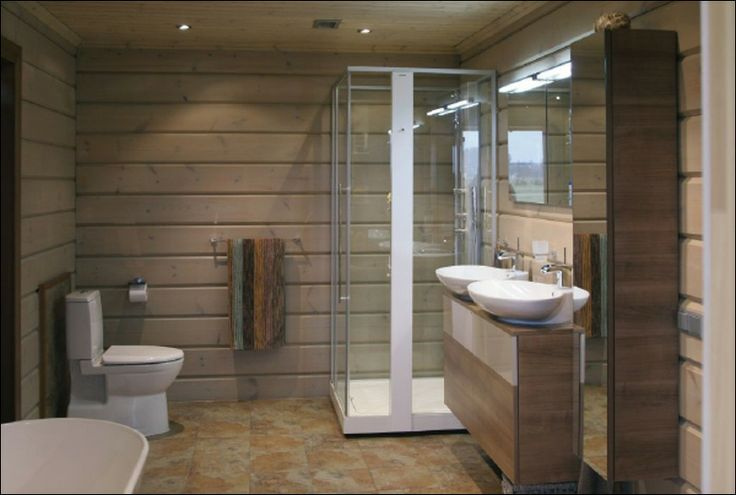 102 best images about maison madrier int rieurs on pinterest for Construction salle de bain
