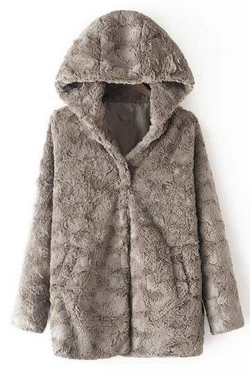 Artificial Fur Hooded Coat - US$47.95 -YOINS