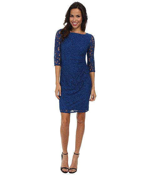Adrianna Papell Beaded Detail Side Swag Dress