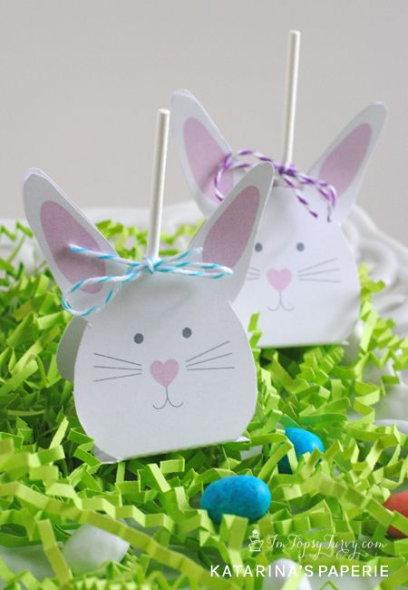 Printable Easter Bunny Lollipop Covers - Im Topsy Turvy