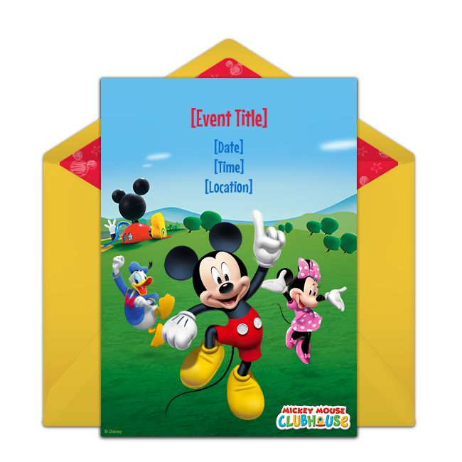 Customizable, free Mickey Mouse Clubhouse online invitations. Easy to personalize and send for a Mickey Mouse birthday party. #punchbowl