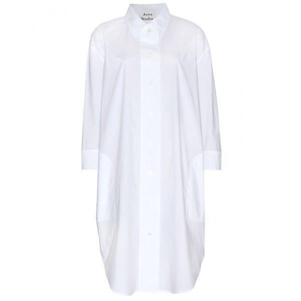 Acne Studios Boyce T Pop Cotton Shirt Dress ($360) ❤ liked on Polyvore featuring dresses, white, shirt-dress, white dress, shirt dress, long shirt dress and acne studios