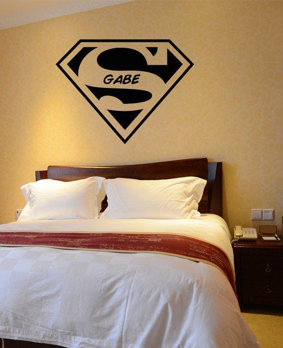 boys room art decor wall decal superman symbol super by happywallz