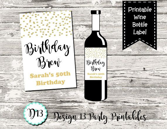 photo about Printable Wine Bottle Labels identify Birthday Brew Wine Bottle Labels Wine Tag Gold Confetti
